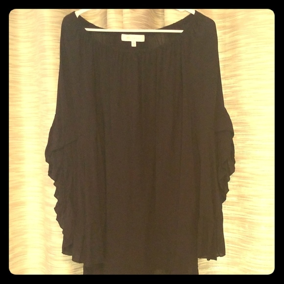 Fever Tops - Black sheer bell sleeve blouse